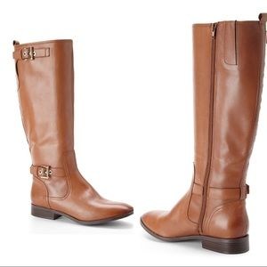 Nine West Brown Tan Bring It Riding Boots Size 5